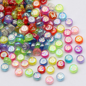 100/200/300/500PCS Mixed English Round Square Letter Beads Random Alphabet Acrylic Beads For Jewelry Making DIY Accessories