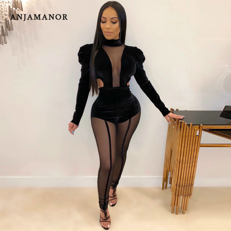 ANJAMANOR Sheer Mesh Velvet Sexy Two Piece Set Puff Sleeve Bodysuit and Pants Matching Sets Parties Club Ladies Outfits D42-AE12