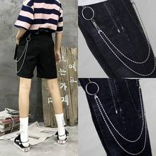 2 Layers Punk Hip-hop Trendy Belt Waist Fashion Chain Multilayer Male Pants Chain Jeans Punk Silver Metal Big Ring Pants Chains(China)