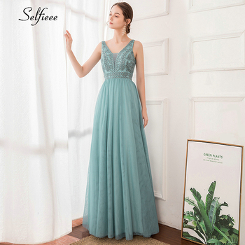 Elegant Women Dress A-Line Beaded Double V-Neck Sleeveless Tulle Maxi Dress Sexy Embroidered Long Party Dress Vestidos 2020 2