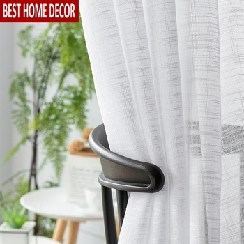 Solid White Tulle Window Curtains For Living Room 1