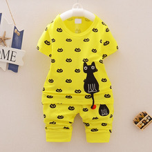 Blue/Yellow Baby Clothes Boys Summer Set Cotton T shirt + Shorts Pants Clothing Sets Toddler Boy 2019