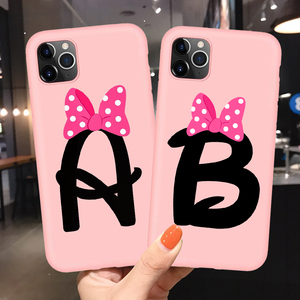 Letter Monogram A B C D Pink Bow-knot Soft TPU Phone Case Cover For iphone 11 Pro XR X XS Max 8 7 6 6S Plus 5S SE Couple Shell(China)