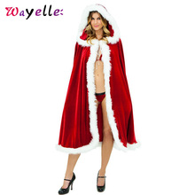 Christmas Womens Poncho Cape 2019 Fleece Hooded Solid Christmas Costume Santa Claus Hooded Cape Coat  Cashmere Poncho with Fur