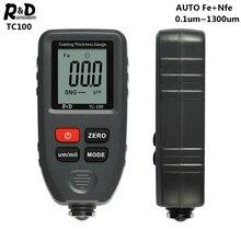 R&D TC100 толщиномер покрытия 0,1 микрон/0-1300 автомобильная краска пленка тестер толщины измеритель измерения FE/NFE русский ручной инструмент краски