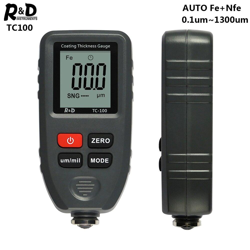 R&D TC100 Calibro Di Spessore Del Rivestimento Di 0.1 Micron/0-1300 Auto Spessore Del Film Di Vernice Tester Del Tester Di Misura FE/NFE Manuale Russo Vernice Strumento