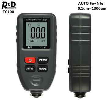 R amp D TC100 miernik grubości lakieru 0 1 mikronów 0-1300 lakieru samochodowego tester grubości miernik pomiaru FE NFE rosyjski instrukcja farby narzędzie tanie i dobre opinie R D INSTRUMENTS 0~1300um um mils 0 1um 0 01 mils 6F22 9V batttery
