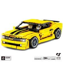 Teknik kas araba yapı taşı chevrolet Camaro model geri çekin araç buhar montaj tuğla oyuncak koleksiyonu için çocuk hediye