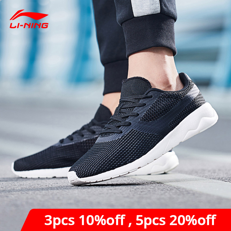 Li-Ning Men HEATHER KNIT Lifestyle Shoes Mono Yarn Breathable LiNing Li Ning Sport Shoes Durable Leisure Sneakers AGCN015 YXB181