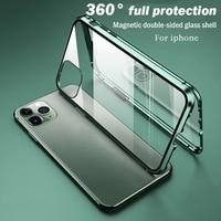 Luxus Telefon Fall Für IPhone X XR XS 6 6S 7 8 11 12 Plus Mini SE Pro MAX 2020 360 doppel Glas Shell Magnetic Adsorption Abdeckung
