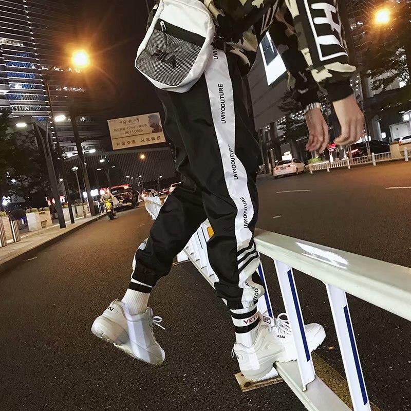 Hong Kong Style CHIC Pants Men's Korean-style Trend Autumn Casual Pants Men Loose-Fit Versatile Capri Pants Beam Leg Athletic Pa