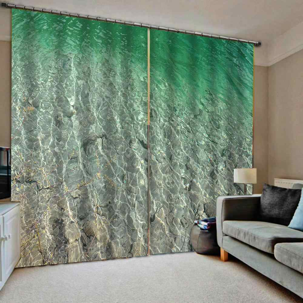 beach green water seaside curtains 3D Blackout Curtains Living Room Bedroom Hotel Window curtains