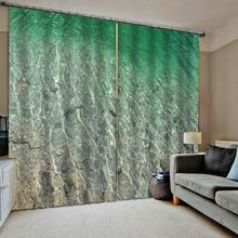 beach green water seaside curtains 3D Blackout Curtains Living Room Bedroom Hotel Window