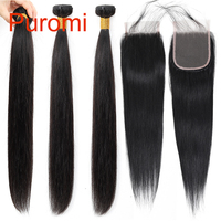 Puromi Straight Bundles With Closure Indian Remy Hair Weave 100% Human Hair Bundles With Closure Natural Color Hair Extension