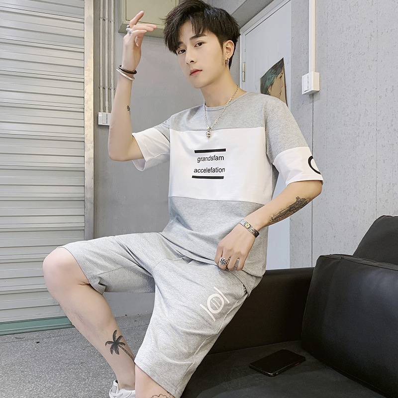 Summer MEN'S Short-sleeved T-shirt Casual Sports Fashion Set Korean-style Handsome Trend 2019 New Style Clothes Half Sleeve T