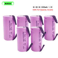 MJKAA 10Pcs SC 1.2V 3200MAH Rechargeable Battery 4/5 SC Sub C Ni-cd Cell with Welding Tabs for Electric Drill Screwdriver