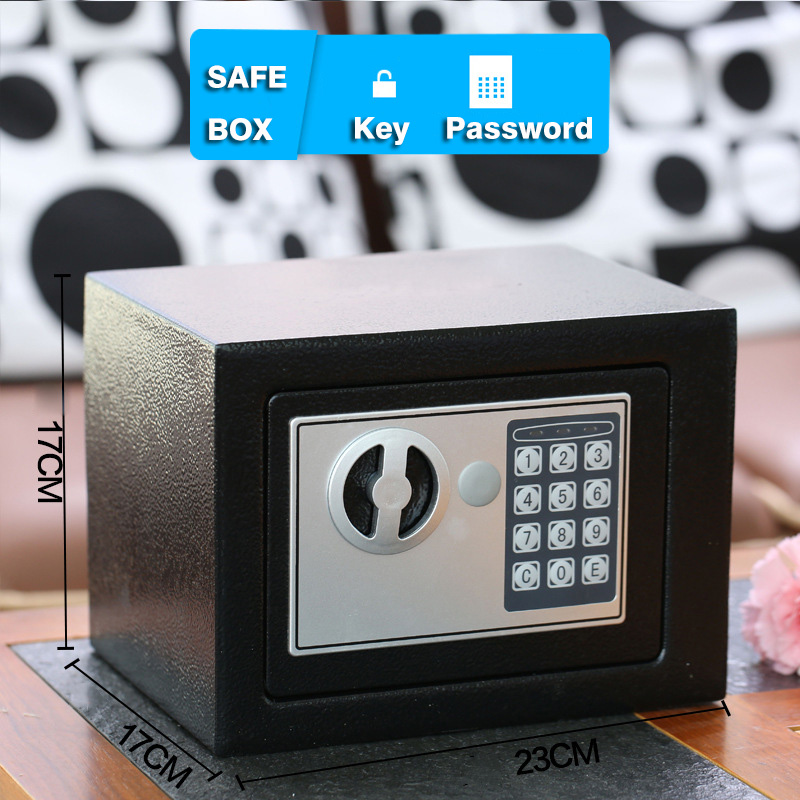 Safe Box Small Household Mini Steel Safes Password / Key Security Box Cash Jewelry Money Bank Festival Gift