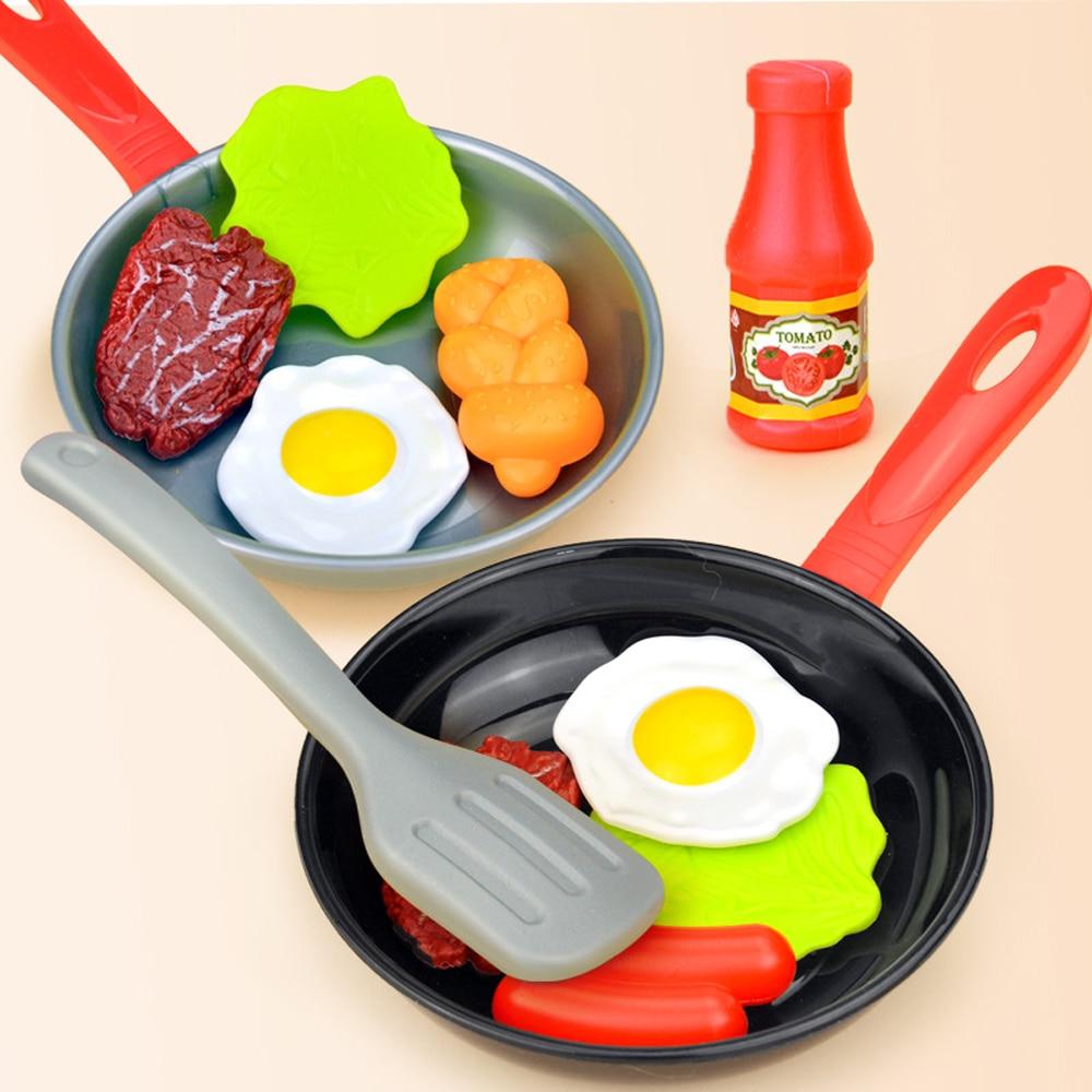 8pcs Kitchen Food Toys Simulation Kitchenware Play Set Pretend Play Pot Steak Vegetable Bread Hot Dog Omelette Children Toys