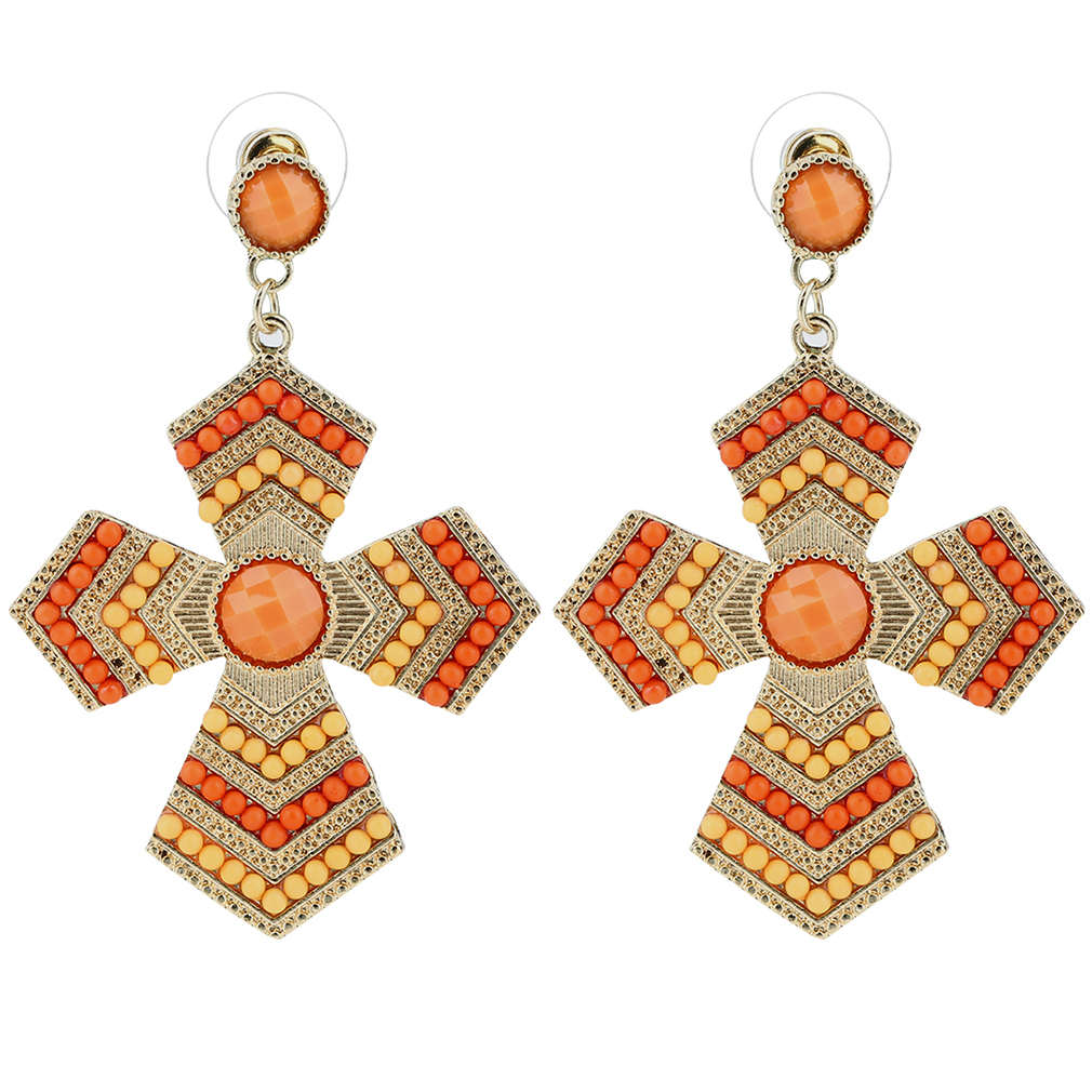 A PAIR OF DANGLY ORANGE//PINK MARBLED  PEARL  SILVER PLATED CLIP ON    EARRINGS.