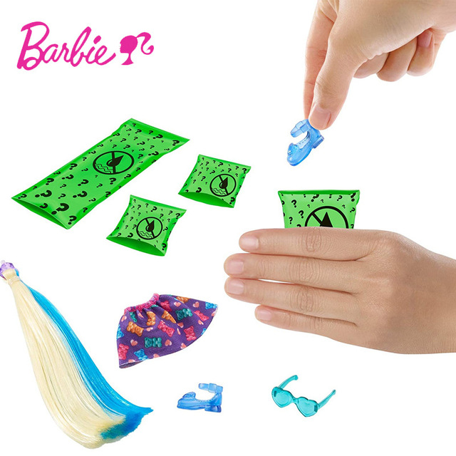 Barbie Chelsea Color Reveal Foodie Series Dolls with Accessories detachable Ponytail Blind Box Toy for Children Gift GPD41