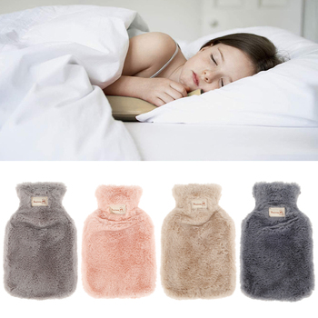 800/1800ml hot water bottle soft to keep warm in winter portable and reusable protection plush covering washable leak-proof - discount item  38% OFF Household Merchandises