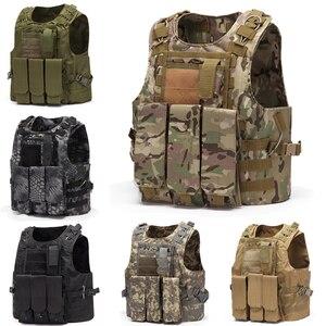 Image 1 - Wielofunkcyjny kamizelka myśliwska taktyczna wojskowa kamizelka bojowa Molle Combat nośnik płyty uderzeniowej kamizelka taktyczna CS odzież typu Outdoor