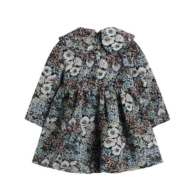 Autumn Vintage Floral Printing Long Sleeve Women Dress Korean Peter Pan Collar Cute Ladies High Waist Loose A-Line Dress Female 2