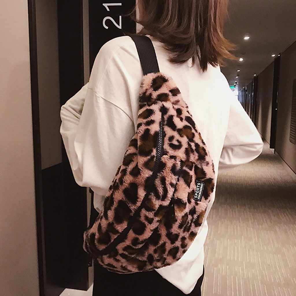 Leopar komik paketleri kadınlar için 2018 taklit kürk bel çantaları bayan kış bel çantası Unisex küçük göğüs çanta pelüş çanta # p3