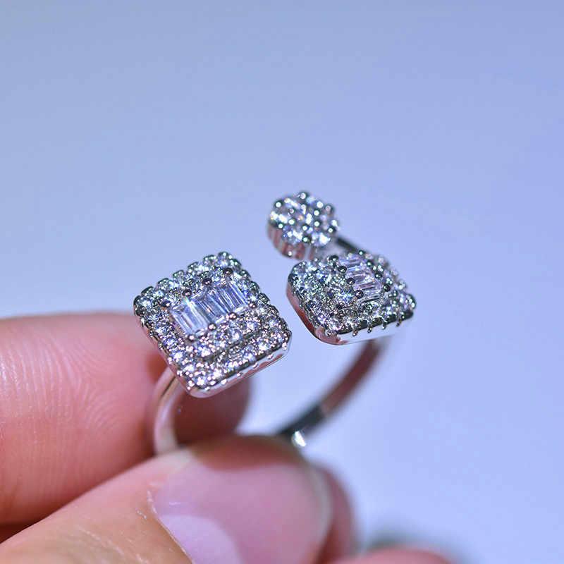 الفاخرة الإناث السيدات ساحة الزركون خاتم قابل للتعديل 925 الفضة كريستال خاتم الخطوبة الكلاسيكية وعد خواتم الزفاف للنساء