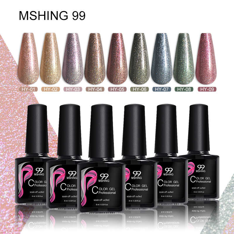 MSHING99 Kuku set gel cat kuku Warna Kuku Kuku Gel varnish Hybrid Pernis Manikur Glitter Vernis Semi Permanen UV LED kuku