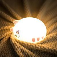 Kitty Cute Cat Animal Silicone Small Night light Clap Children Bedroom Nursery Light Remote Control Soft Cartoon Lamp