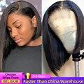 Короткие волосы боб парики индийские прямые кружевные передние человеческие волосы парики для женщин предварительно сорванные с волосами ...