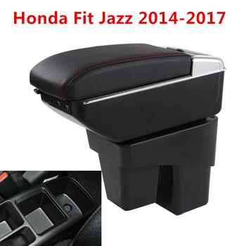 For Honda Fit Jazz 2014-2018 Center Centre Console Storage Box Leather Dual Layer Armrest Arm Rest 2015 2016