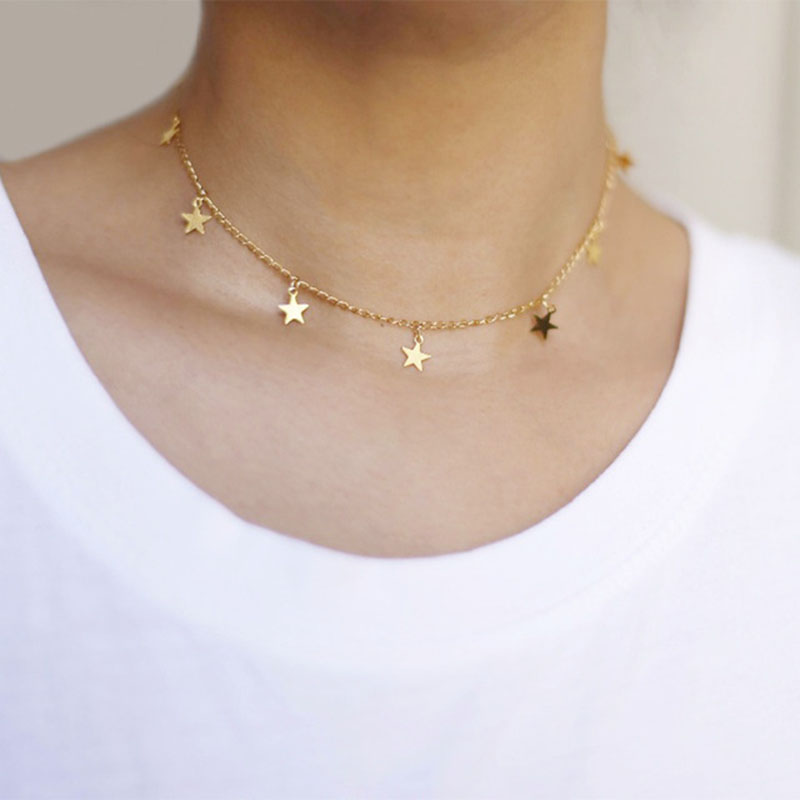 New Fashion Stainless Steel 7 Star Choker Necklace For Women Star Necklace Statement Jewelry colar collana acciaio inox donna