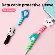 Ładowarka kabel Protector Winder Cute Cartoon zwierząt kabel organizator uchwyt do zarządzania dla iPhone kabel Protector akcesoria do telefonów tanie tanio centechia CN (pochodzenie) Silikon Cute animals 2 5 * 4 5cm Cable Protector
