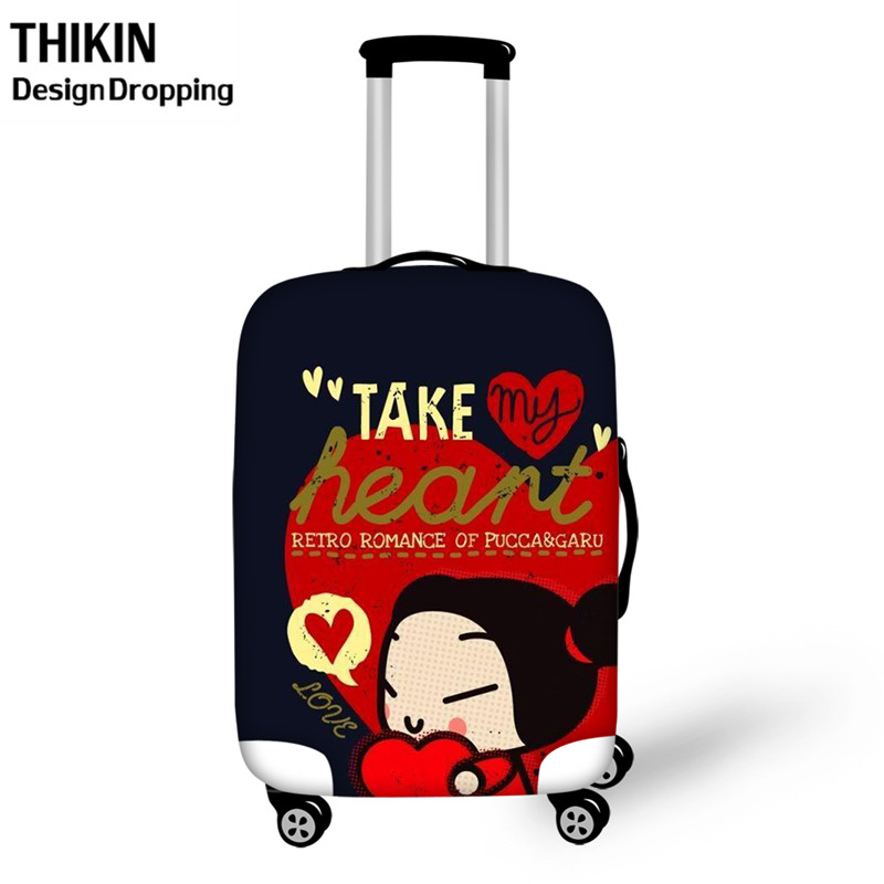 THIKIN Kawaii Pucca Cartoon Causal Women Travel Luggage Case For School Students Trunk Suitcase Protective Covers For Boys Girls