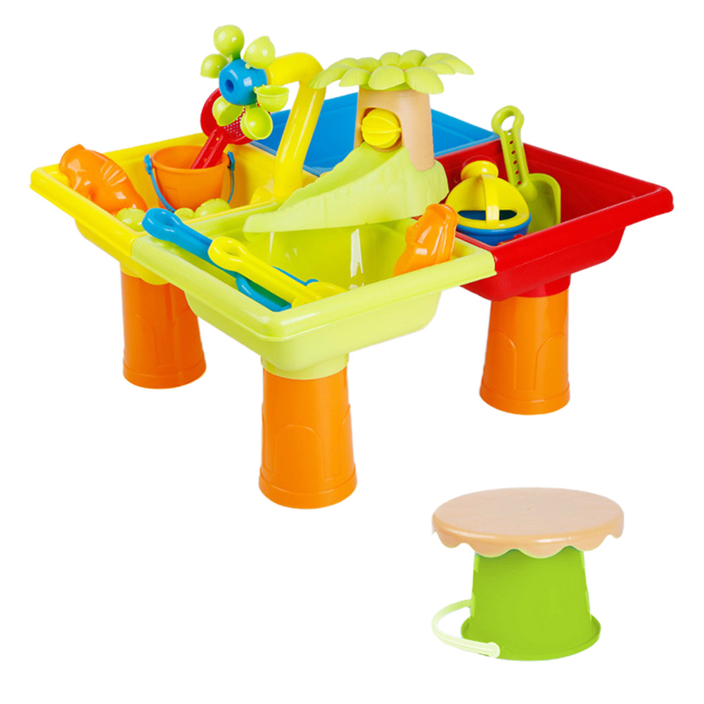 Summer Digging Pit Sand Water Table Bucket Beach Toy Set Sandglass Play Seaside Outdoor Activity Detachable Multipurpose Plastic