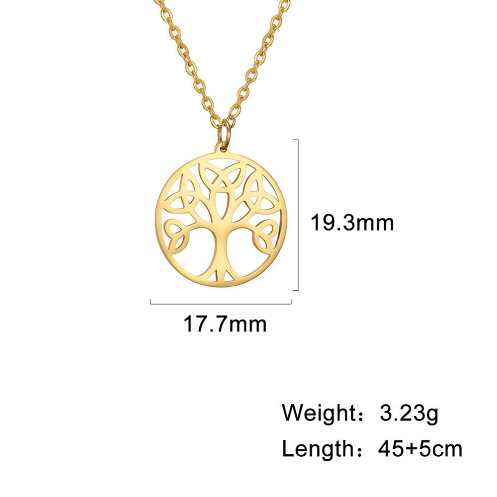 LIKGREAT Stainless Steel Life Tree Pendant Necklace for Women