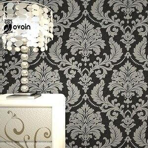 Image 2 - 高級近代メタリック3Dダマスクビニール壁紙ウォールペーパーベッド壁紙ロールシルバーグレー、黒、赤、ブラウン