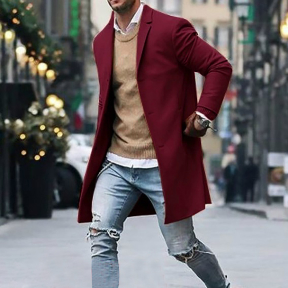 Men's Overcoat Fashion Autumn Winter Button Slim Long Sleeve Suit Jacket Trench Coat Casual high quality Mens Tops Blouse 020New 26