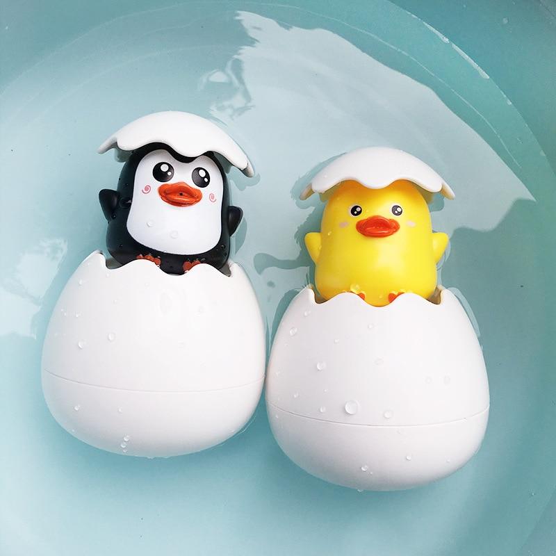 Mini Cute Baby Water Spray Toy Bathroom Egg Duck Penguin Swimming Shower Educational Sprinkler Funny Bathtub Toys For Children