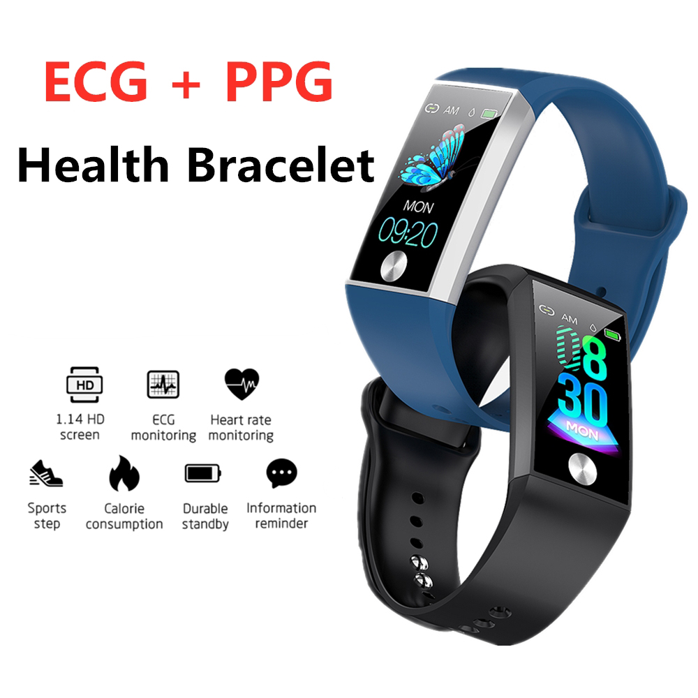 ECG PPG Cardio Pulse Monitor Smart Bracelet Activity Tracker Heart Rate Blood Pressure Pedometer Bluetooth Smart Band Men Women image