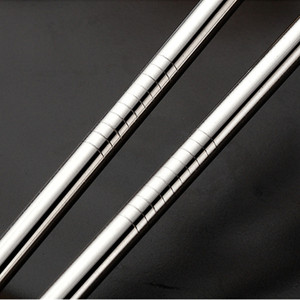 Image 3 - Batch Straws 50Pcs/Set Metal Straw Reusable Wholesale Stainless Steel Drinking Tubes 215mm*6mm Straight Bent Straws For Drink