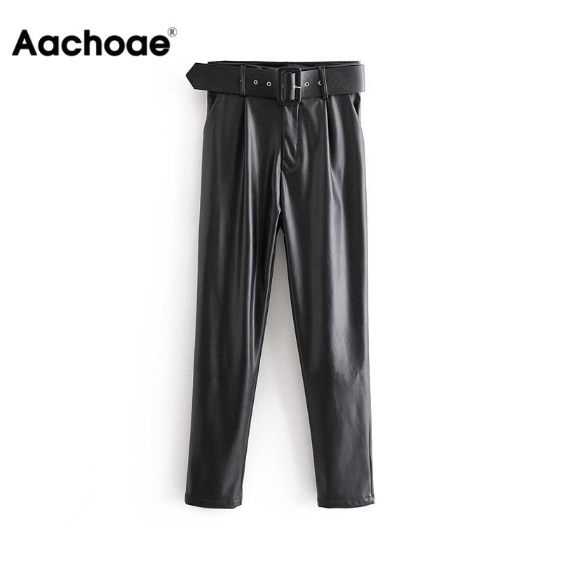 Women Chic Black PU Faux Leather Pants Fashion High Waist Pockets Ladies Office Trousers With Belt Casual Pleated Pants Bottoms