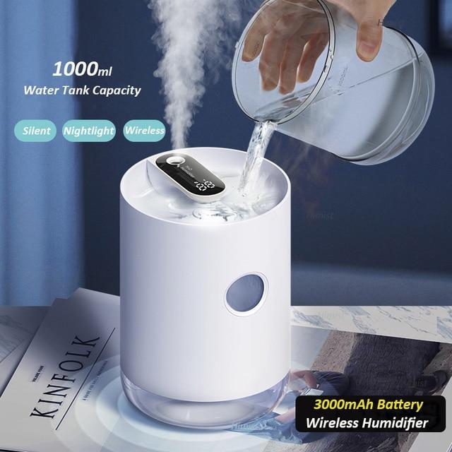Ev hava nemlendirici 1L 3000mAh taşınabilir kablosuz USB Aroma su buhar makinesi pil ömrü gösterisi aromaterapi Humidificador