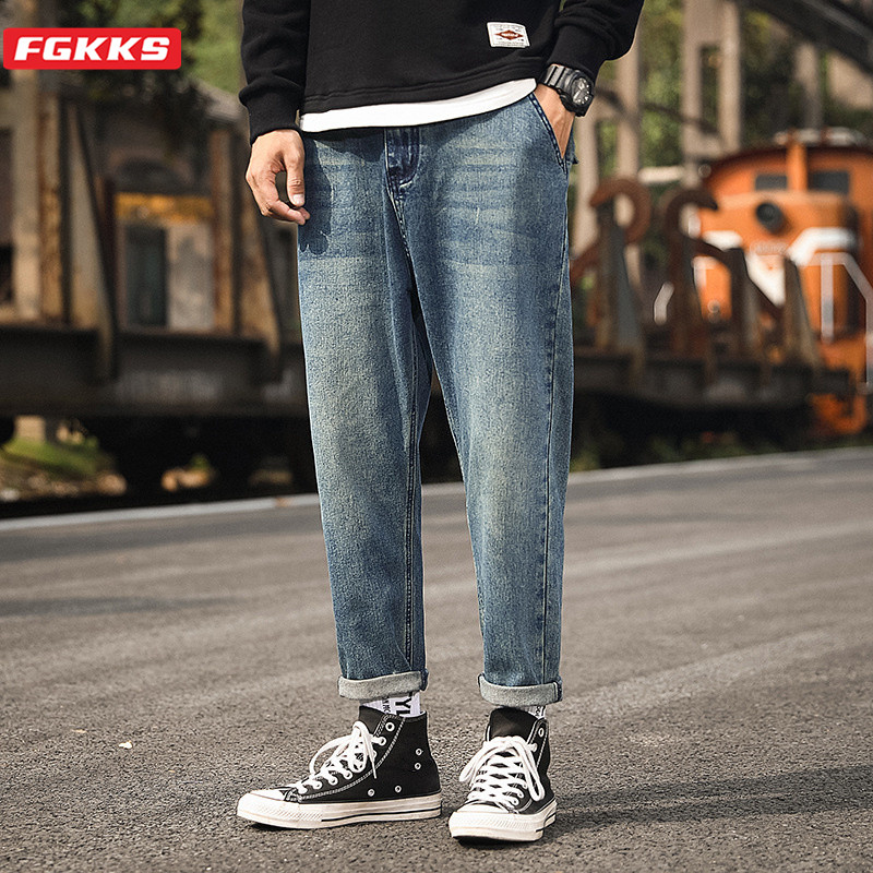 FGKKS Trend Brand Men Fashion Jeans High Street Men's Solid Color Stretch Slim Denim Trousers Casual Wild Jeans Male