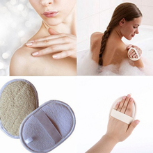 Round Natural Bristle Body Brush Loofah Effective Exfoliating Bath Massage Shower Back Spa Sponge Scrub