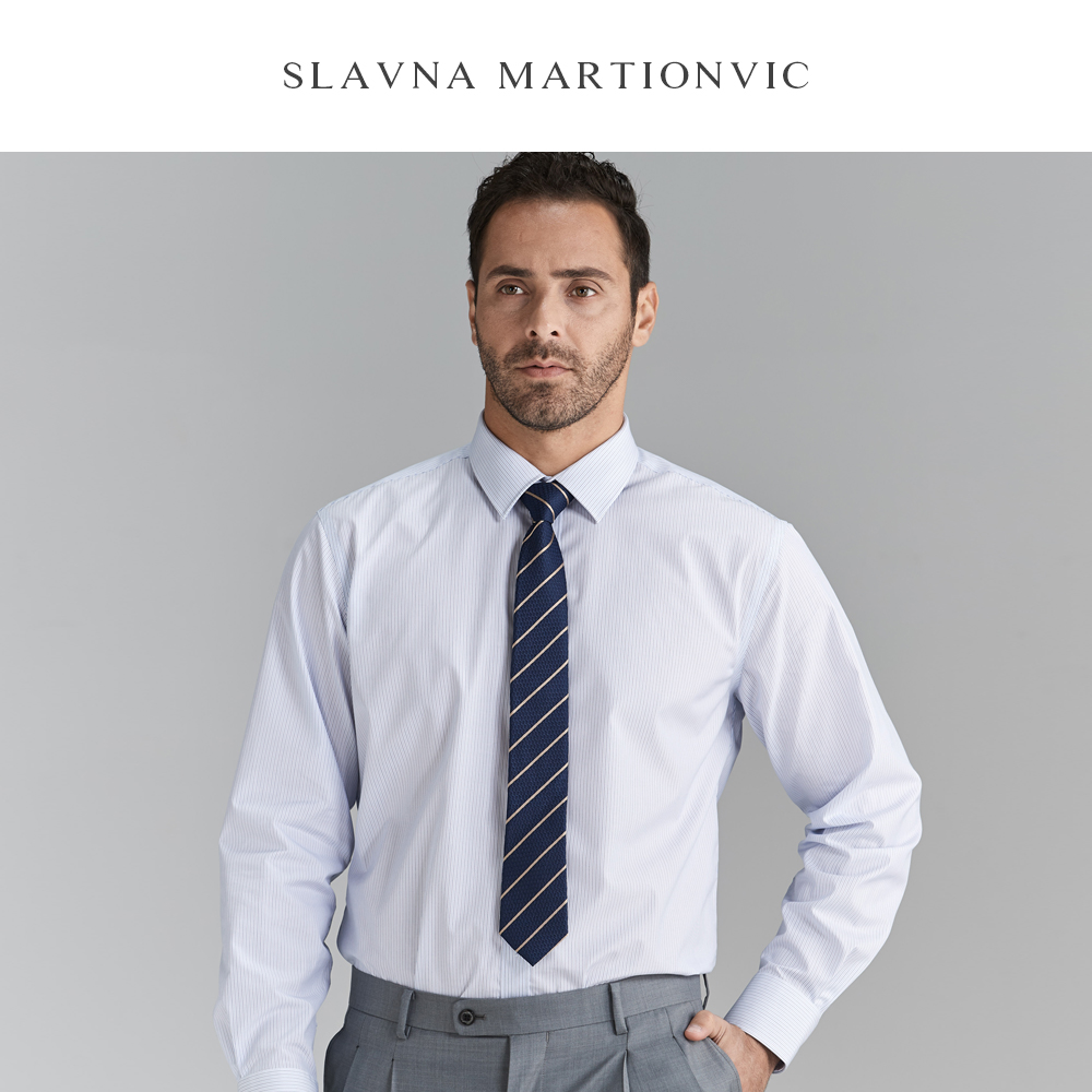 Slavna Martinovic Autumn And Winter Professional Wear White Casual  Men Shirt Long Sleeve