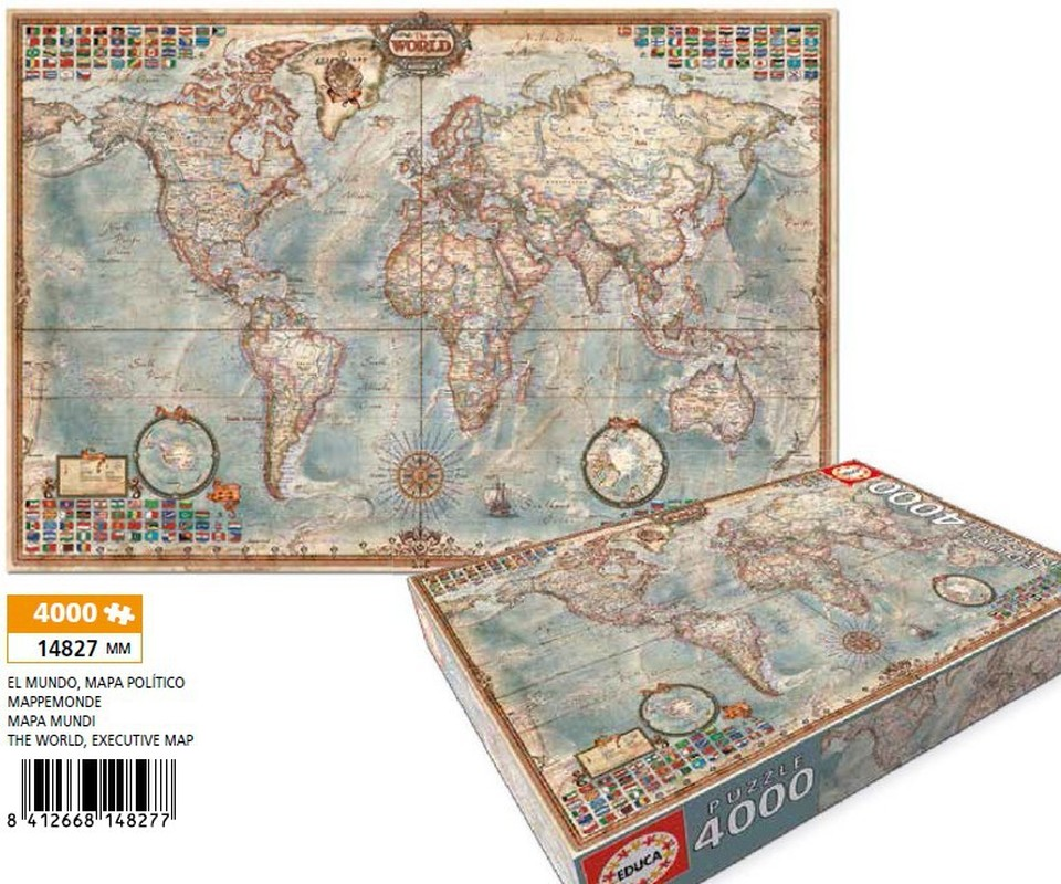 4000 Pcs Assemble World Map Administration Map Mosaic Reynolds Puzzle Assemble Educa World Map Puzzles Toys