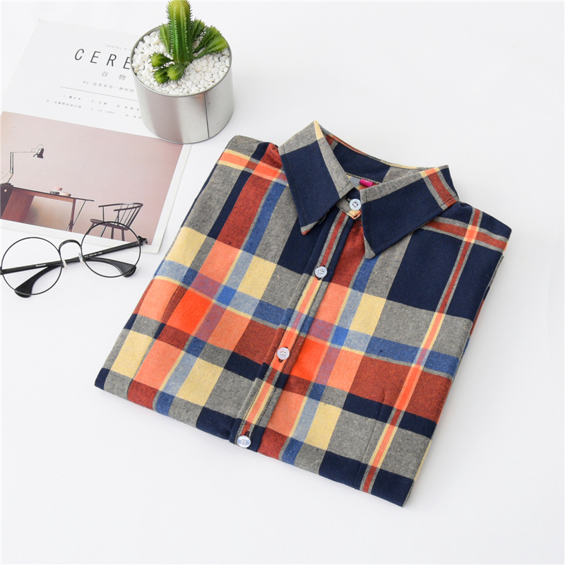 2020 New Women Blouses Brand New Excellent Quality Cotton 32style Plaid Shirt Women Casual Long Sleeve Shirt Tops Lady Clothes 31